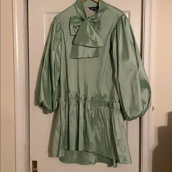 Neon Green Sister Jane MIDI Smock Dress with Bow